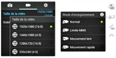 Configurer l'enregistrement des vidéos