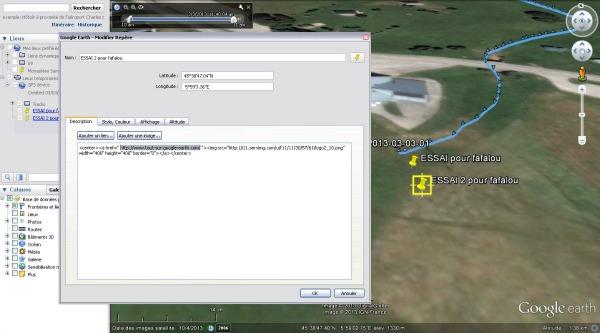 ajouter des repaires Google earth