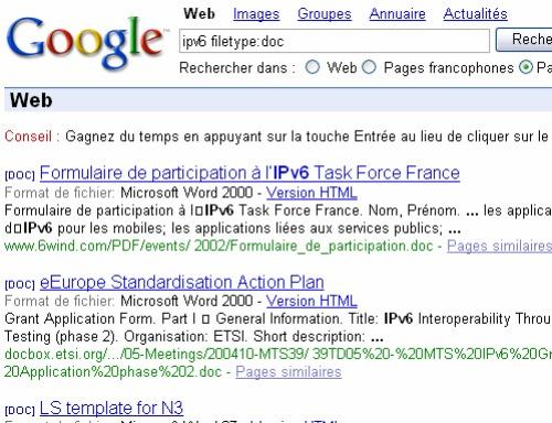 recherche google par extension de fichiers