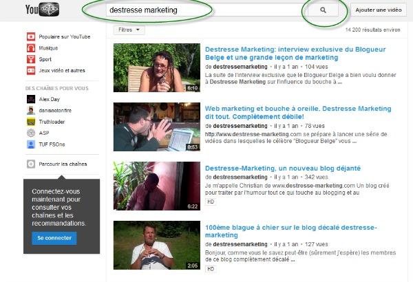 rechercher une vidéo depuis la barre de recherche
