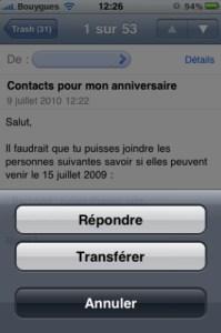 repondre à un message iphone 5