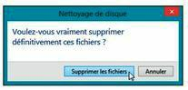 Confirmez la suppression des fichiers