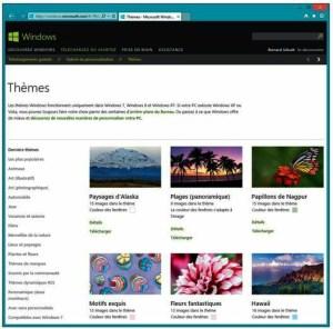 Quantité de thèmes, avec de nouveaux écrans de veille, sont téléchargeables depuis le site de Microsoft