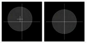 A gauche, l'iPhone n'est pas à plat. À droite, les deux réticules sont superposés