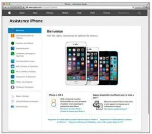 La page du support technique de l'iPhone contient de nombreuses aides et informations