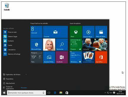 Le menu Démarrer d'un PC reste collé en bas et à gauche de l'écran