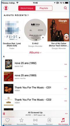 L'onglet Ma musique contient toute votre bibliothèque musicale