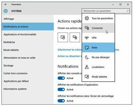 Personnaliser les boutons du Centre de notifications