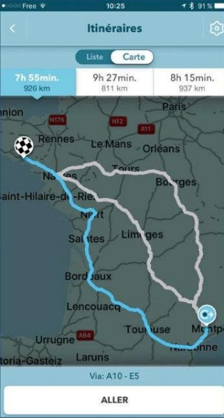 Choisir un autre itinéraire-Waze