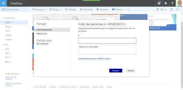 Partager des fichiers sur OneDrive