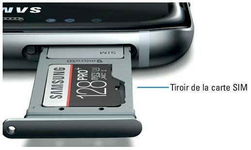 Tiroir de la carte SIM du Galaxy S7 (source Samsung)