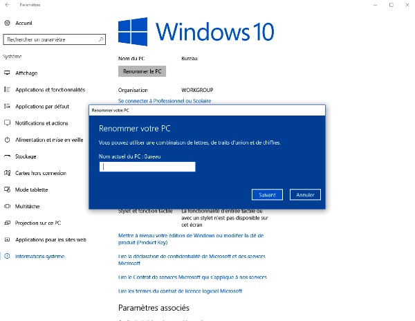 Renommer le PC de Windows 10