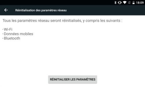 reinitilisation parametres réseau