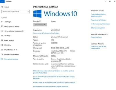 Information système Windows 10