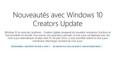 Télécharger la mise à jour de Windows 10 Creators Update