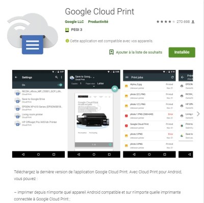 Google cloud print pour android