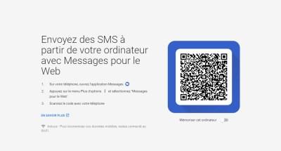 Qr code du site web android messages
