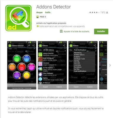 application android addons detector