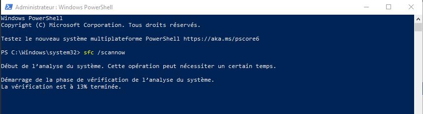 Commande DOS SFC pour Windows