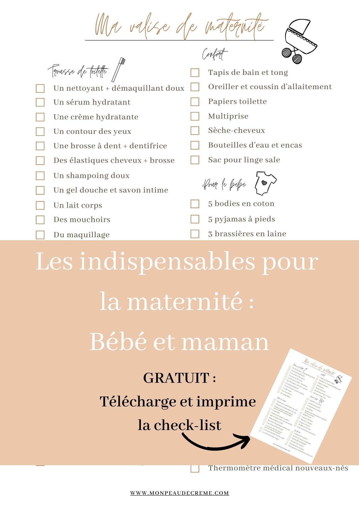 Liste valise de la maternité- bébé et maman - Mon peau de crème