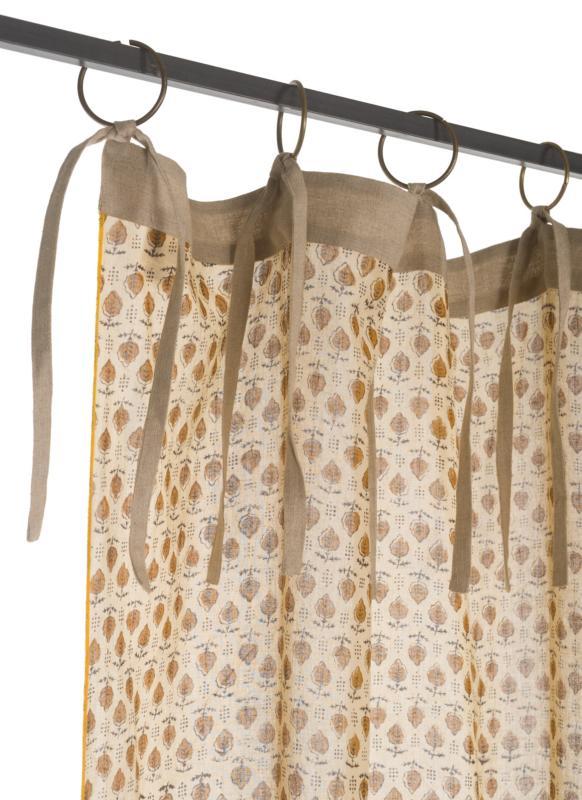 indienne voilage en coton imprime ocre semis