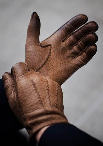 gants cuir marrons