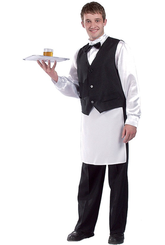 Garçon de café avec gilet noir