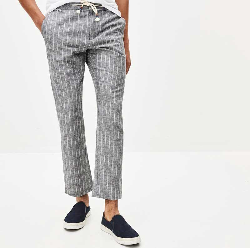 pantalon-lin-coton-rayure-gris-celio