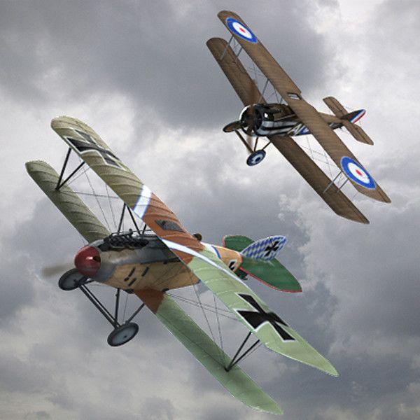 Un Albatros D.III aux prises avec un Sopwith Camel