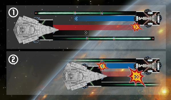 Star Wars Armada - Nombre de dés en fonction de la distance