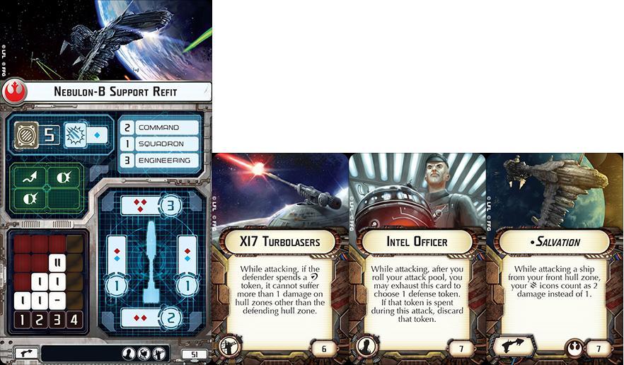Star Wars Armada - Vaisseau avec ses cartes d'améliorations