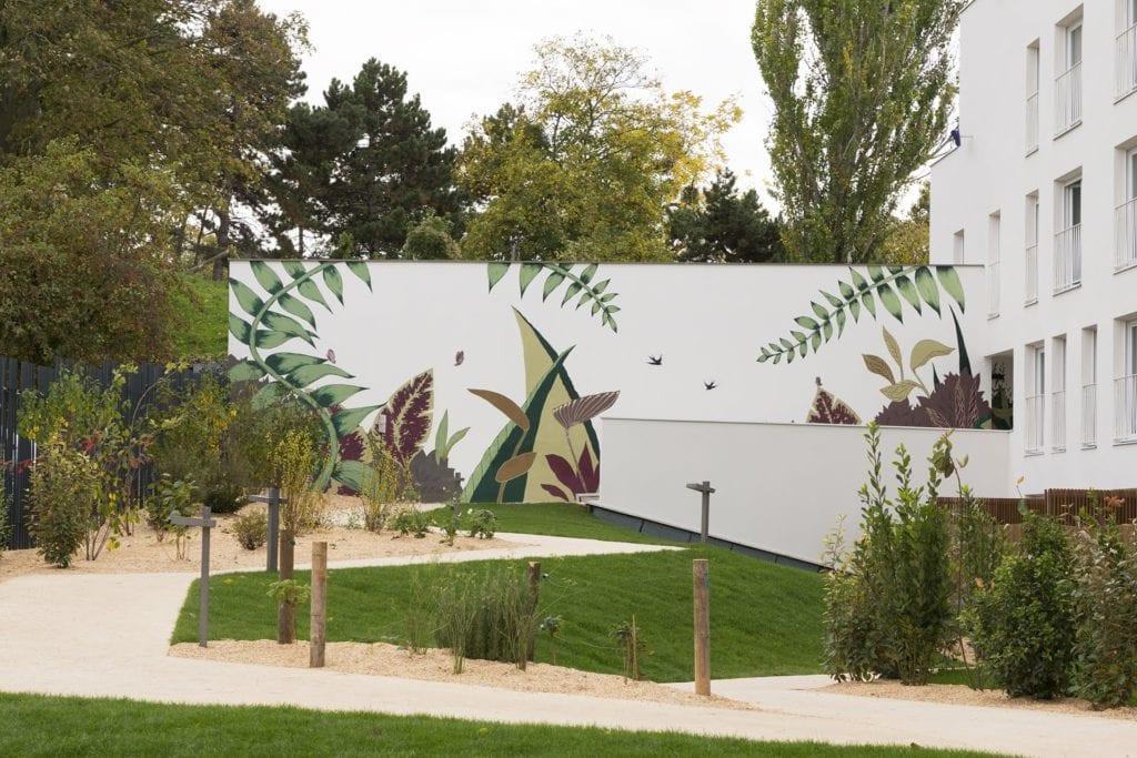 fresque murale exterieure sur sol ou