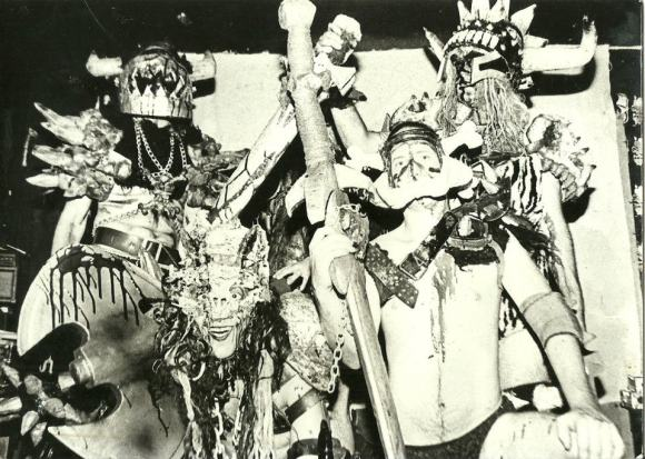 GWAR promo pic from 1989. I have no idea why Bishop isn't in this picture. From upper right, clockwise, Balsac (Mike Derks), Flattus (Dewey Rowell), Nippleus (Rob Mosby), and Oderus (Dave Brockie)