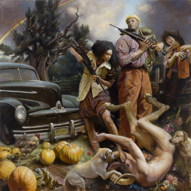 "Adam Miller The Intruder 36"" x 36"" oil on canvas $9,000"