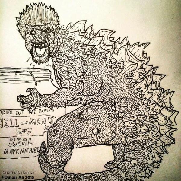This hideous monstrosity. #guyfieri #godzilla #kaiju #guyju #RIPBryanCranston #flavortown #hellmanns #drawing #toiletwatercereal