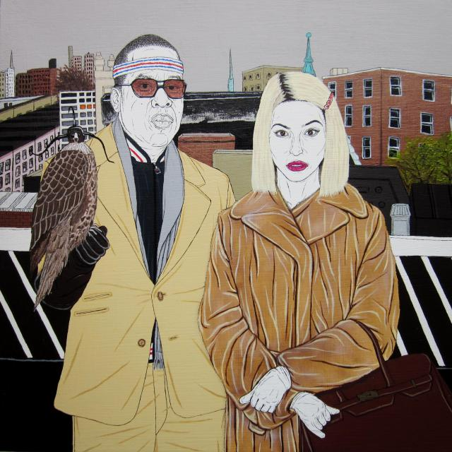 """Justin Hager """"Jay z and Beyonce as the Royal Family"""" acrylic, ink, and airbrush on wood panel 12"""" x 12"""" $600"""