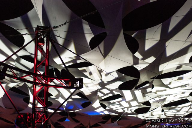 A section of the trademark Pickathon canopy with scaffolding from the Starlight Stage