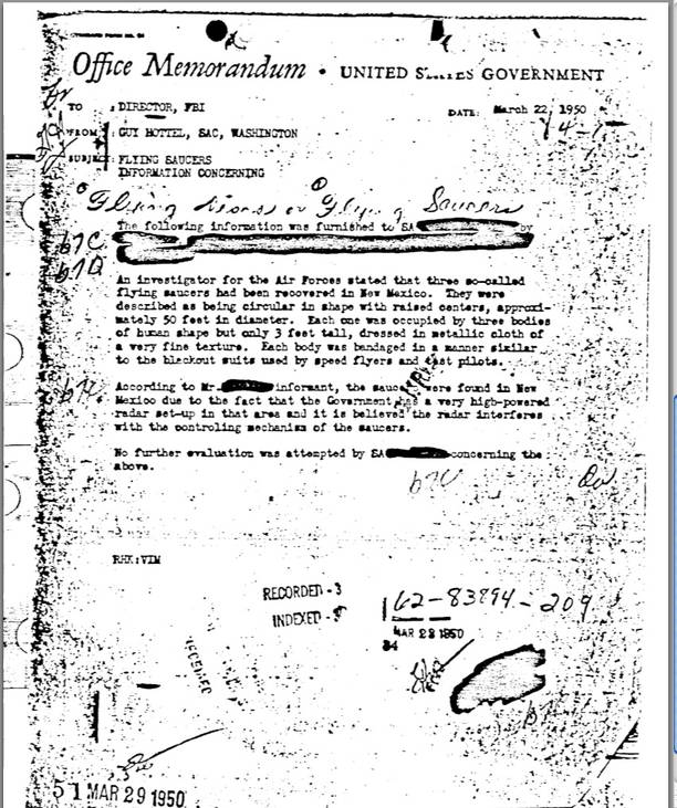FBI memo mentions three flying saucers