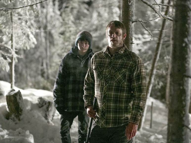 Percy Hynes White and Joel Kinnaman in EDGE OF WINTER, courtesy Vertical Entertainment