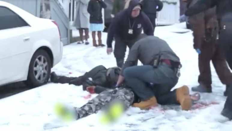 The two gunshot victims lying in the snow on tonight's Boston EMS on ABC