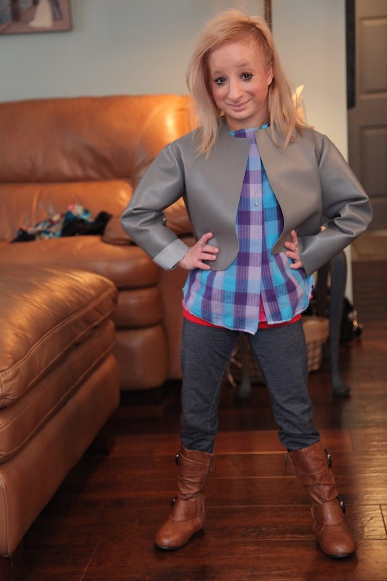 Hannah Kritzeck tries on some new specially-made clothes