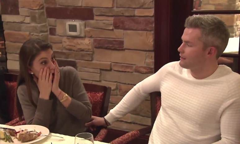 Emilia reacts after finding out that Ryan isn't Catholic on this week's Million Dollar Listing New York special