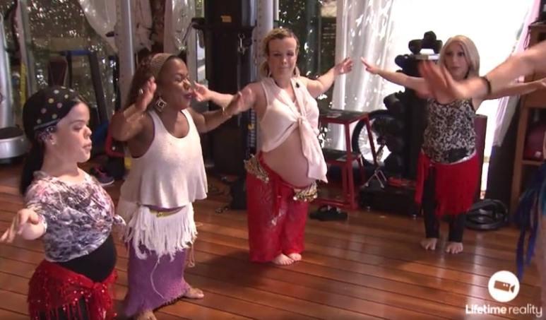 Briana, Tonya, Terra and Jasmine belly dancing on this week's Little Women: LA