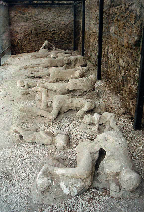 Plaster casts of the victims of the eruption