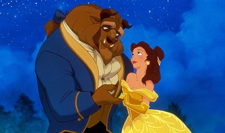 Belle and the Beast in the original animated version of the Disney movie