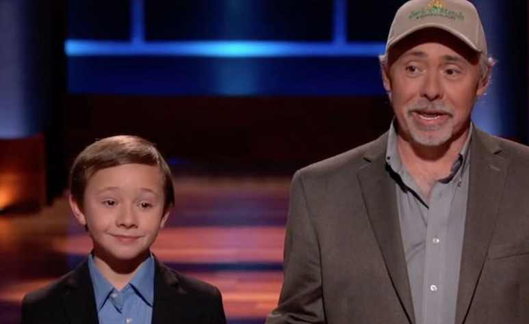 Jack Bonneau and dad Steve pitching Jack's Stands and Marketplaces on Shark Tank
