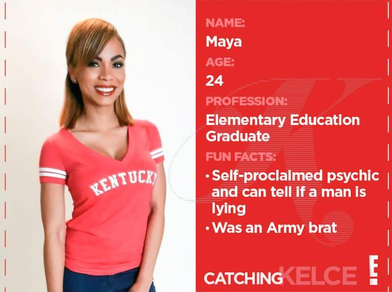 Maya's 'Team Kentucky' profile card from Catching Kelce on E!