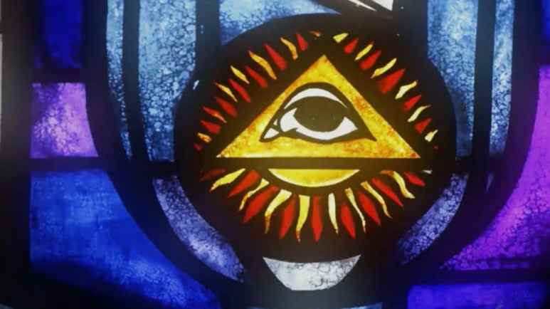 The all-seeing eye in a stained glass window