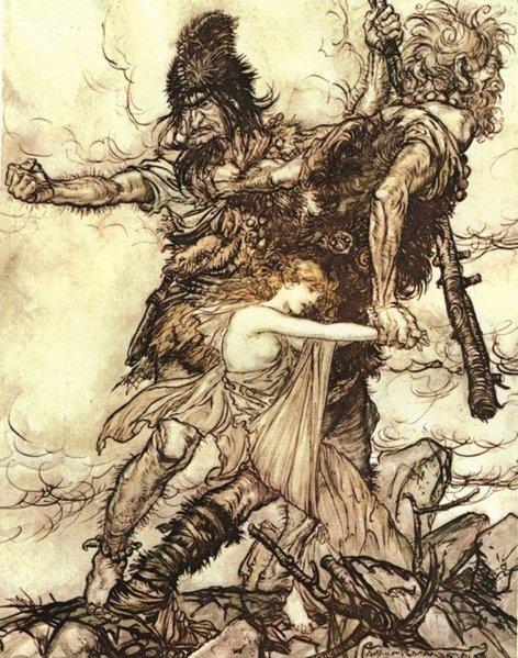 Two frost giants seize fertility godess Freyja