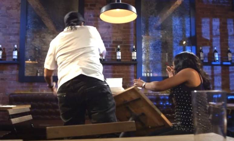 Kim Wallace flips a table on to Yandy before storming out after their confrontation